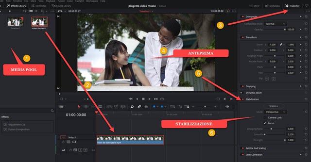 stabilizzazione di un video con davinci resolve