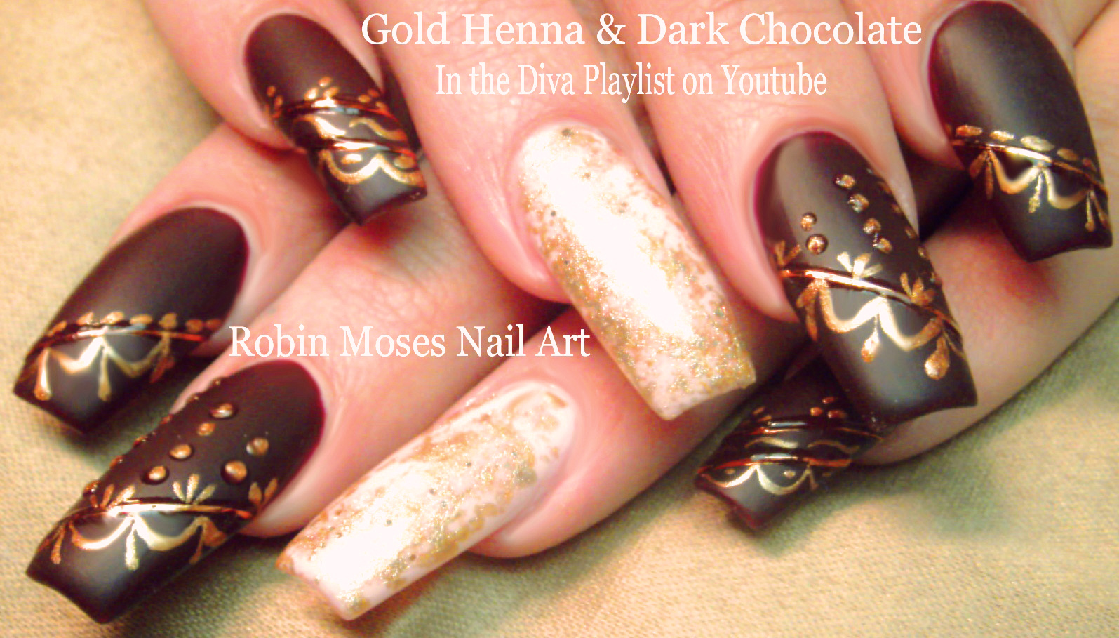 Robin Moses Nail Art: Dark Matte Red Nails with Henna and ...