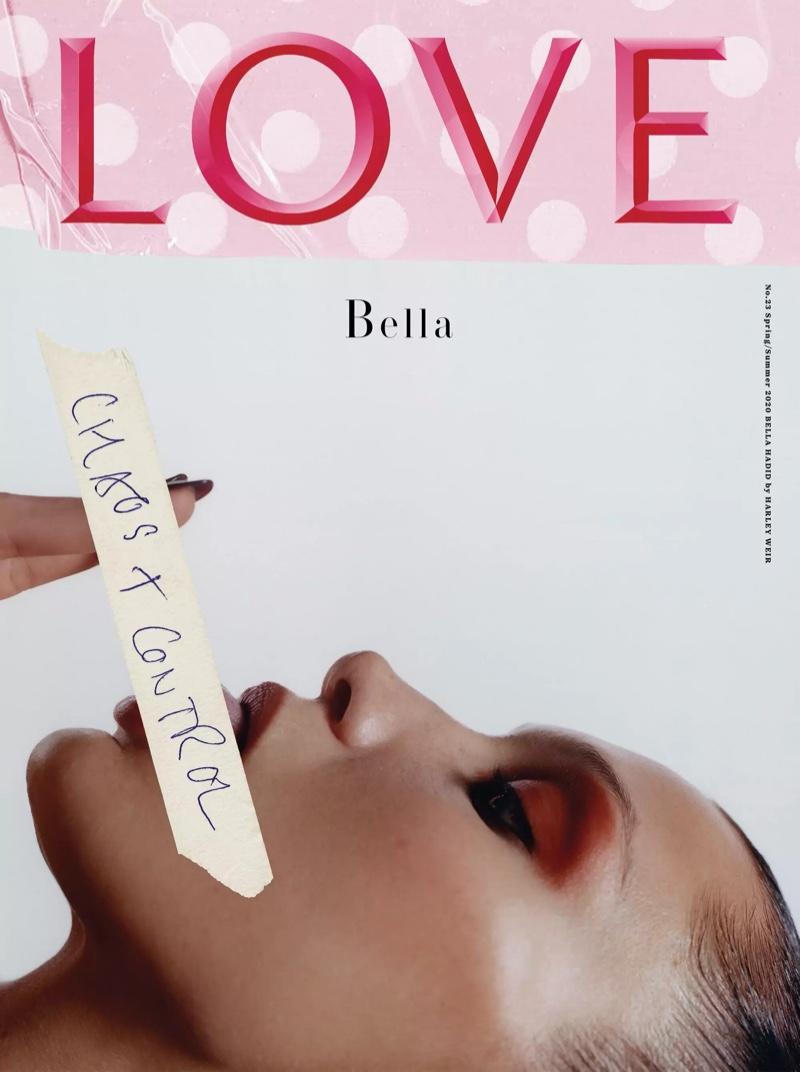 Bella Hadid wears next to nothing ensembles for LOVE Magazine SS2020