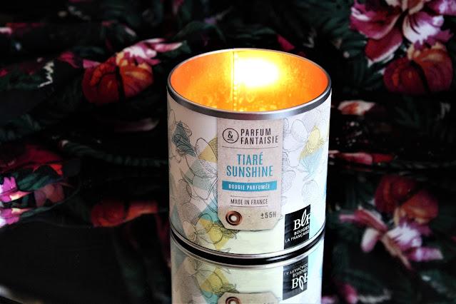 bougie tiaré sunshine bougies la française avis, bougie parfumée au monoï, bougies parfumées made in france, bougie parfumée française, bougies la française avis, bougies la française tiaré, parfum d'été, bougie parfumée