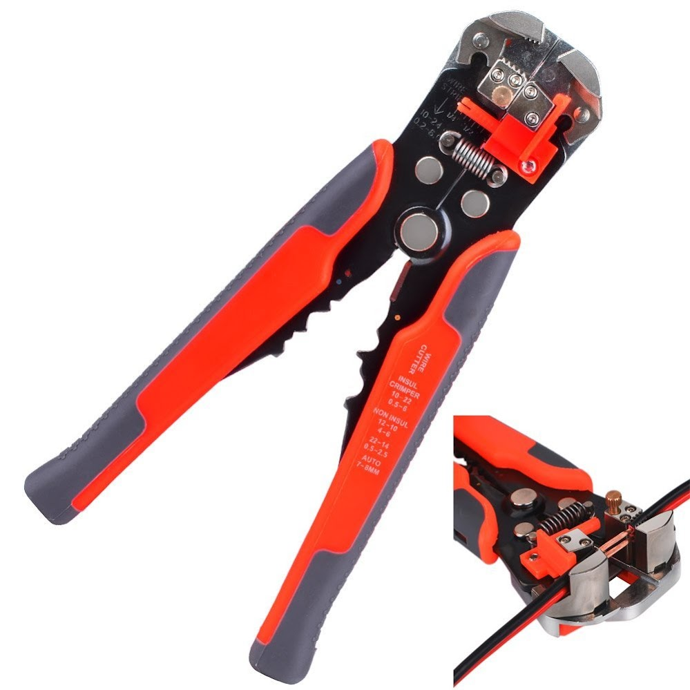 Kuman 8-Inch Self-Adjusting Automatic Wire and Cable Stripper Cutters Crimper Stranded Wire Cutting for Industrial use P8100
