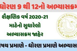 GSEB Revised Syllabus 2020-21 for Std. 9 to 12