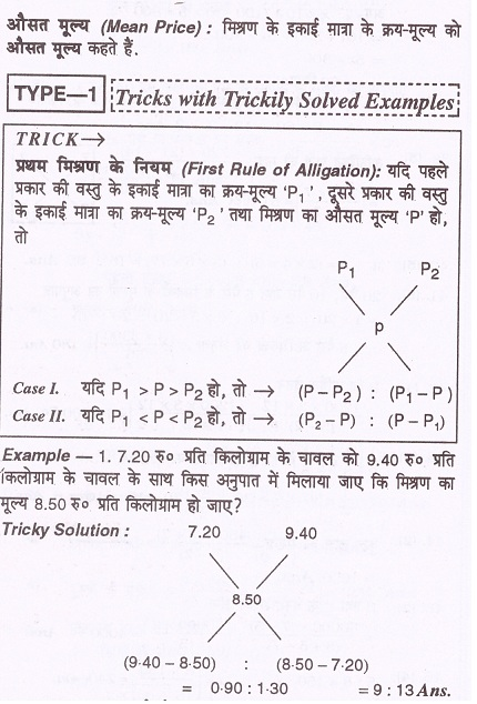 मिश्रण: Mixture Alligation Short Tricks in Hindi मिश्रण