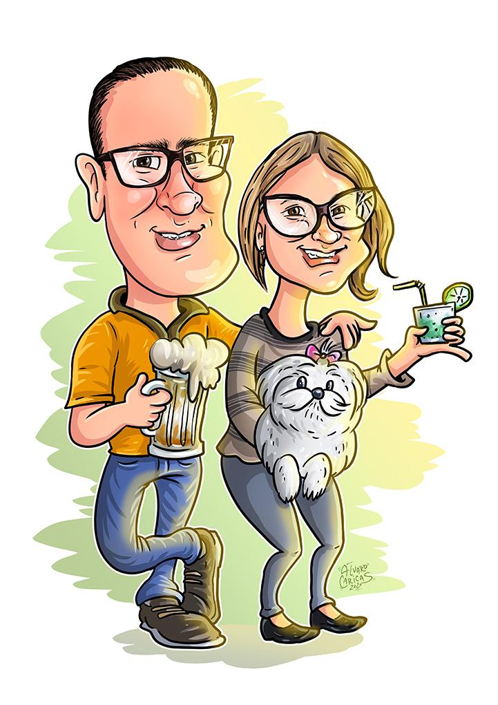 Caricatura Casal com Mascote