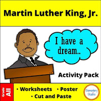 Martin Luther King Jr Worksheets, Activities, Timelines and Poster