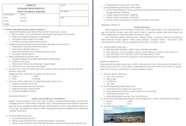 Soal Semester Tema 1 kelas 5 SD/MI