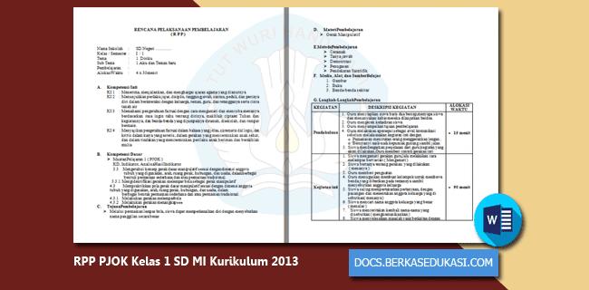 RPP PJOK Kelas 1 SD MI Kurikulum 2013