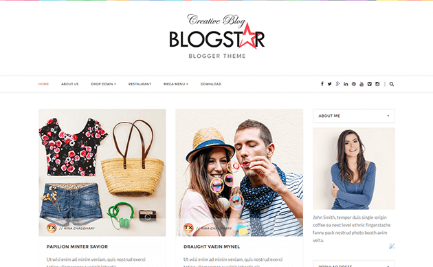 Demonstração de tema para blogs Blogstar clean responsivo 2018