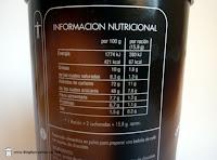 Valores nutricionales del cappuccino vienés con pepitas de chocolate Hacendado de Mercadona.