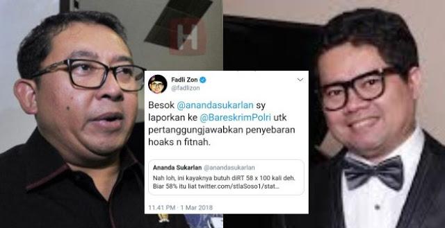 Laporkan Fitnah dan Hoax, Fadli Zon Minta Polri Perlakukan Ananda Sukarlan Sama Seperti Family MCA