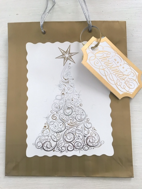 gold Christmas card tree tag