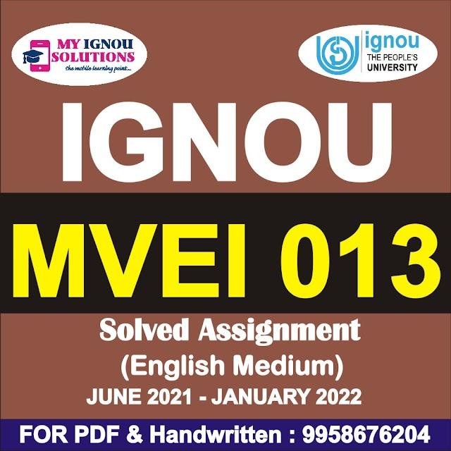 MVEI 013 Solved Assignment 2021-22