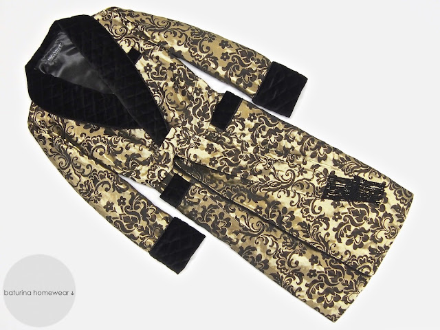 Men's luxury black and gold long robe silk dressing gown with quilted velvet shawl collar paisley