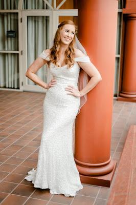 bride in wedding dress smiling