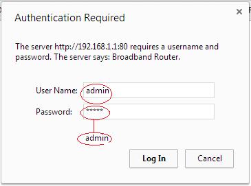 type username and password