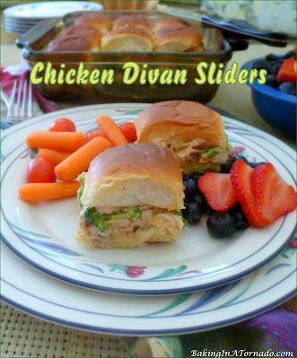 Chicken Divan Sliders, a comfort food dinner in mini sandwich form. | Recipe developed by www.BakingInATornado.com | #recipe #sandwich