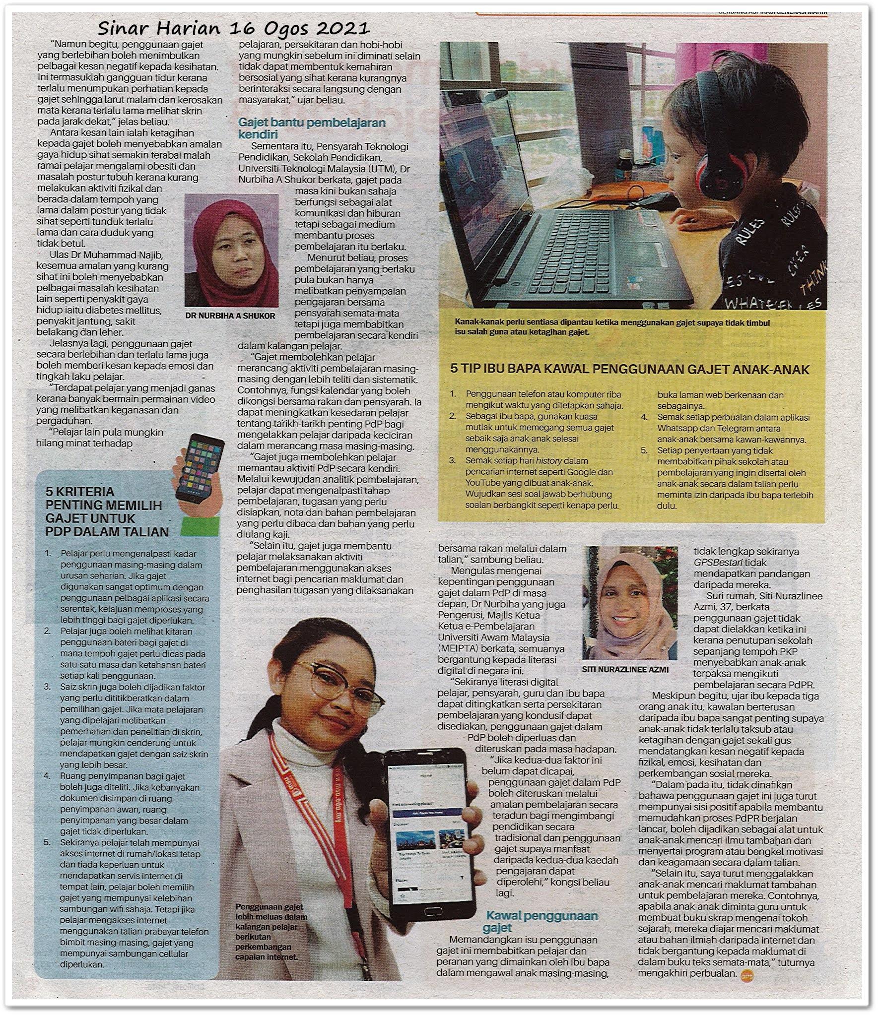 Sisi positif penggunaan gajet - Keratan akhbar Sinar Harian 16 Ogos 2021