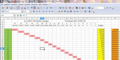 Fig. 4 - Nuovo foglio Calc per controllare 19 LED con Arduino UNO R3 di Paolo Luongo