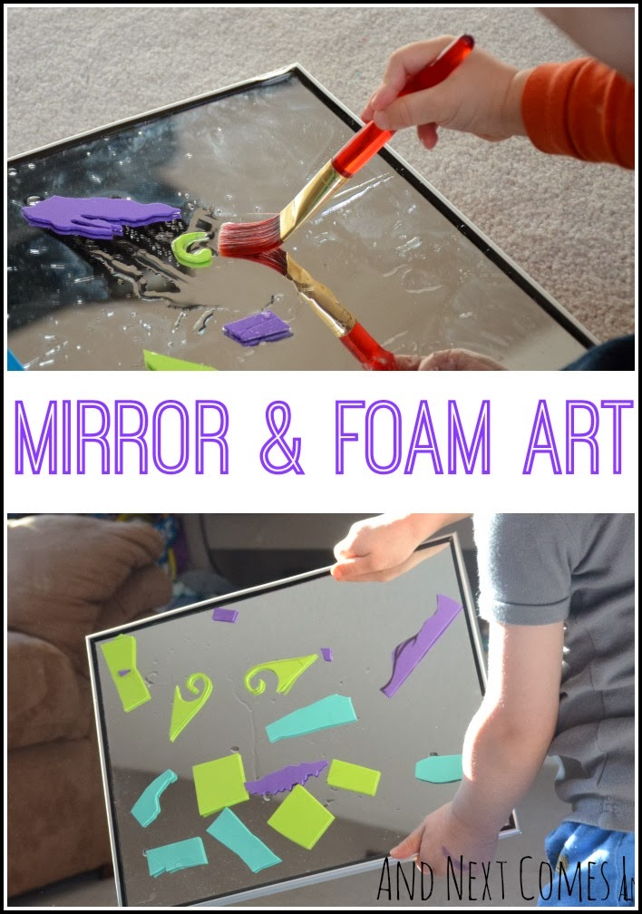 Creating art on mirrors with foam from And Next Comes L