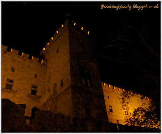 The Palace of the Grand Masters at night built by the knights hospitallers on the Greek island of Rhodes, in Rhodes town after entering through the ambrose gate.