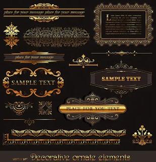 تحميل زخارف وديكورات ذهبية بصيغة الفيكتور لأعمال التصميم2