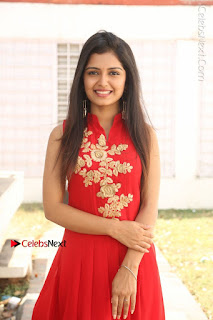 Telugu Actress Priyanka Jain Stills in Red Dress at Amazing Arts Production no 1 Movie Opening  0026.JPG