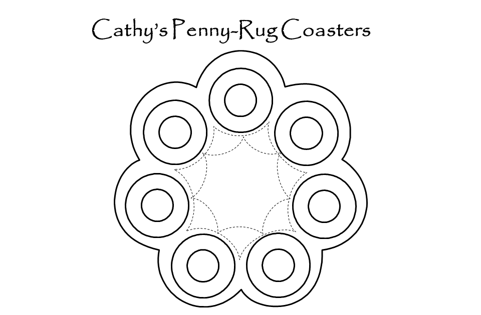 Quilt, Bake, Laugh!!!: Penny-Rug Coaster Pattern!