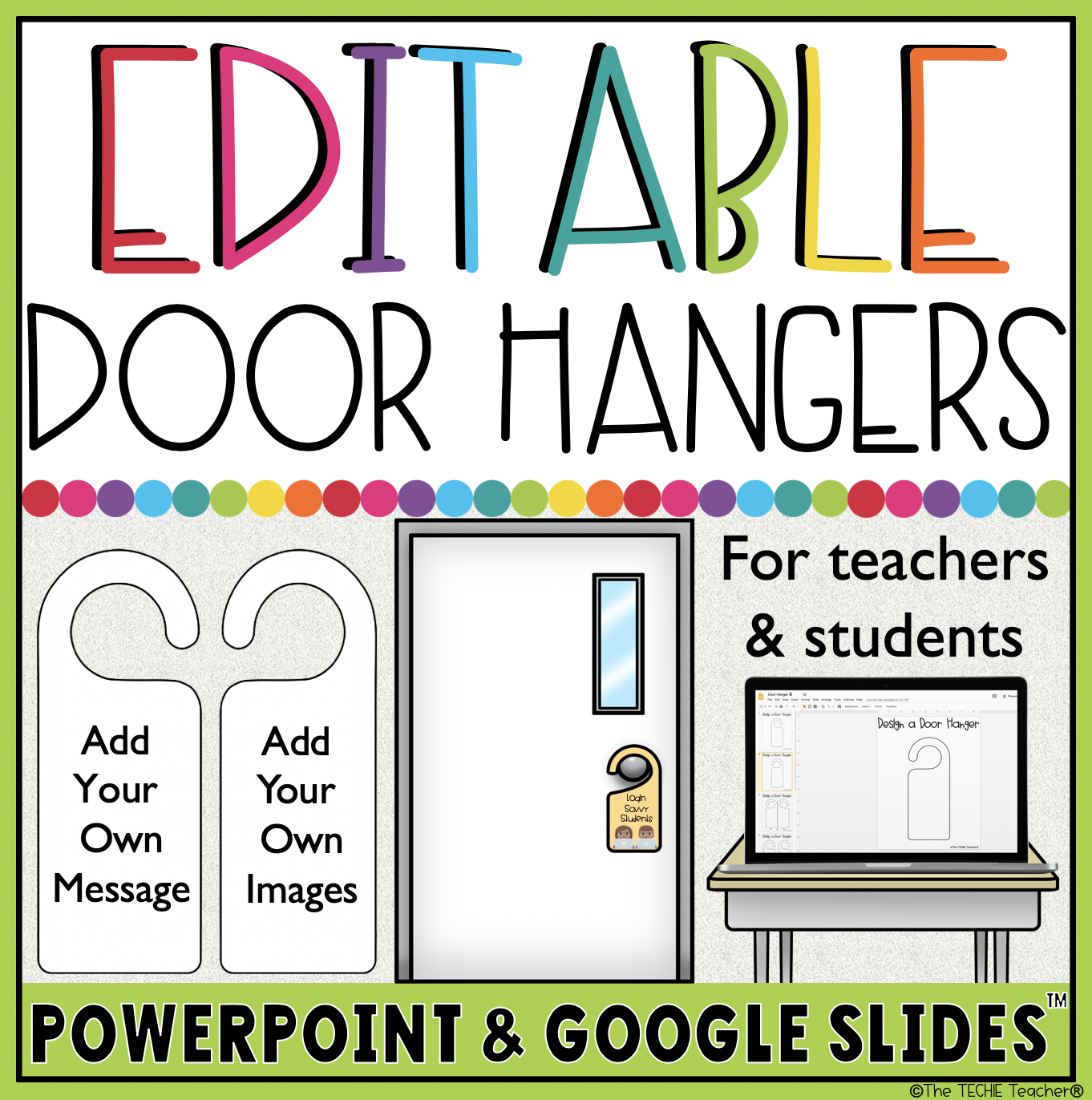 Design a door hanger with these easy to use templates in PowerPoint and Google Slides!