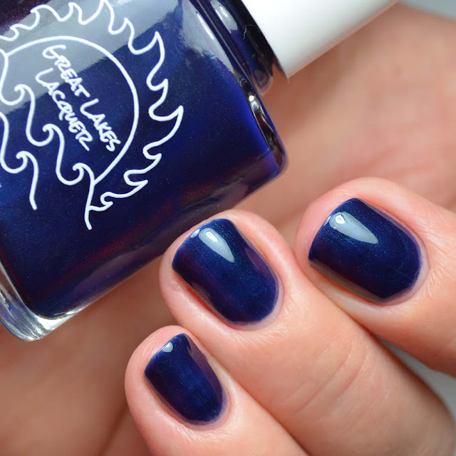 blue color shifting nail polish swatch