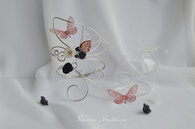 bijou mariage, bracelet papillon original en fil de cuivre