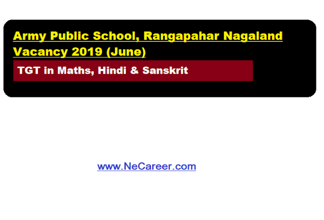 Army Public School, Rangapahar Nagaland Vacancy 2019 (June)