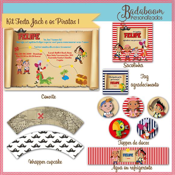 Jack e os Piratas, arte digital, kit festa, kit digital, festa infantil, arte personalizada, convite, tag, topper, wrapper, cupcake, saia, água, rótulos, rótulo