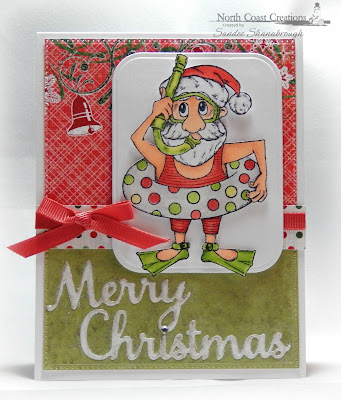 North Coast Creations Stamp: Swimming Santa, Our Daily Bread Designs Custom Dies: Pierced Rectangles, Rounded Rectangles, Merry Christmas, Our Daily Bread Designs Paper Collections: Christmas Coordinating 2015, Holly Jolly