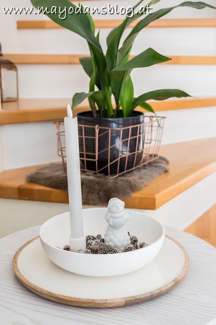 Kerzenhalter winterlich dekoriert