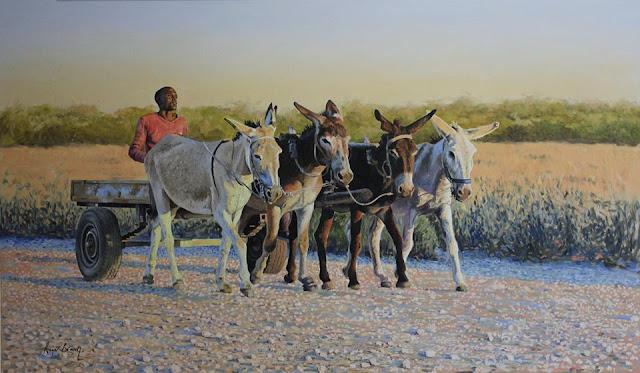 Donkey cart at Sunset