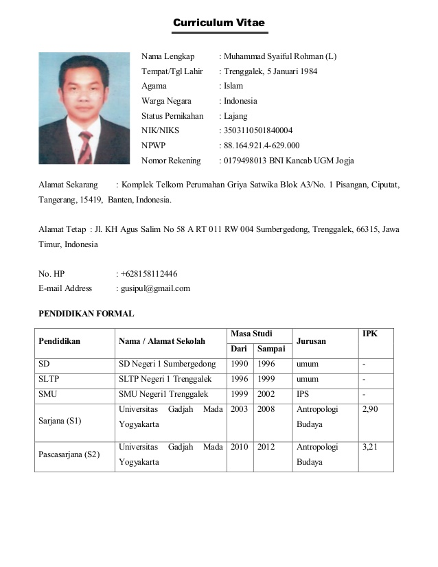 Format Cv Yang Baik Pdf Thank You Letter Death Sample