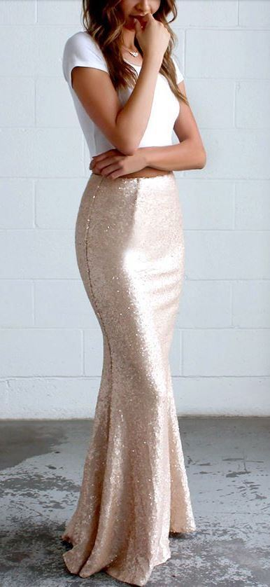 holiday outfit / white top and glitter maxi skirt