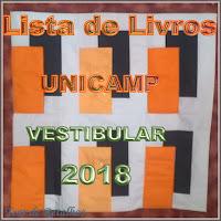 Cartaz com a inscrição:Lista de livros de leitura obrigatória para o vestibular 2018 da UNICAMP