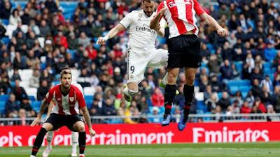 Benzema faz o primeiro de cabeça no duelo Real x Bilbao (Foto: Reuters)