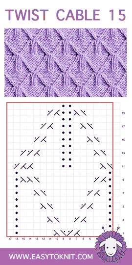 Twist Cable 15: Goyard stitch chart #easytoknit