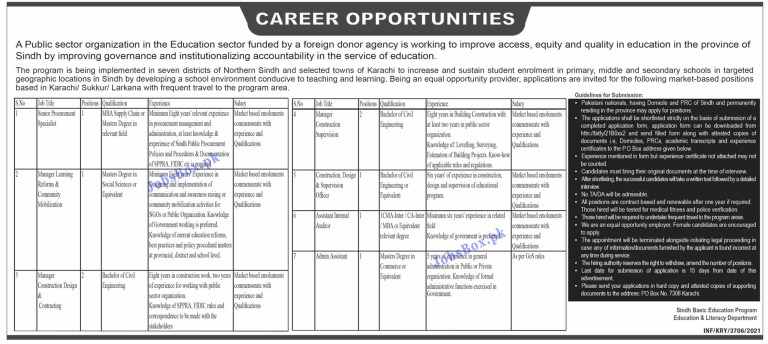 Education and Literacy Department Sindh Jobs 2021 in Pakistan