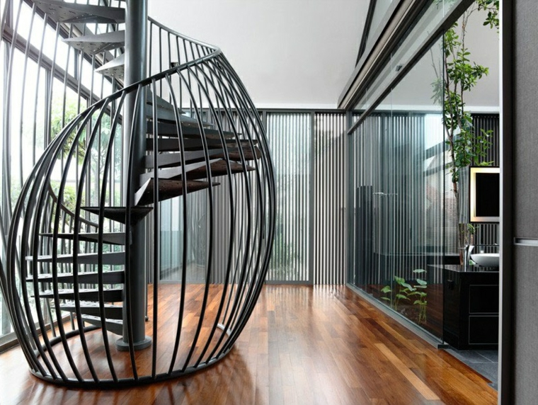Metal Spiral Staircase Ideas With Creative Stair Handrail Design