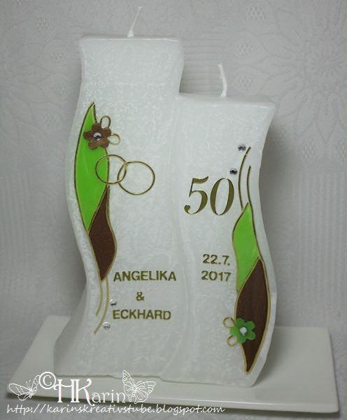 Karins Kreativstube Kerze Goldene Hochzeit Angelika Eckhard