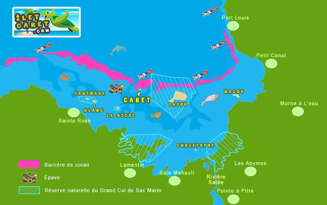 Réserve naturelle du Grand cul de sac marin avec les îlets Caret, Fajou, Macou, la Biche, Carénage, Christophe, Fajou, Blanc avec Barrière de corail