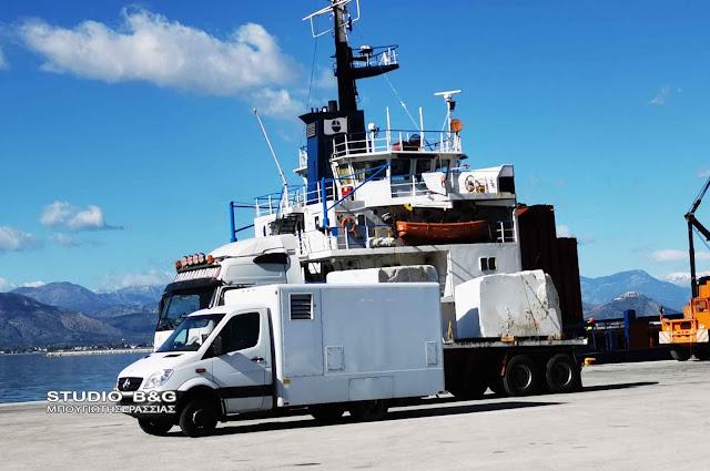 Με ακτίνες Χ σκανάρουν Τουρκικό φορτηγό πλοίο στο λιμανι του Ναυπλίου
