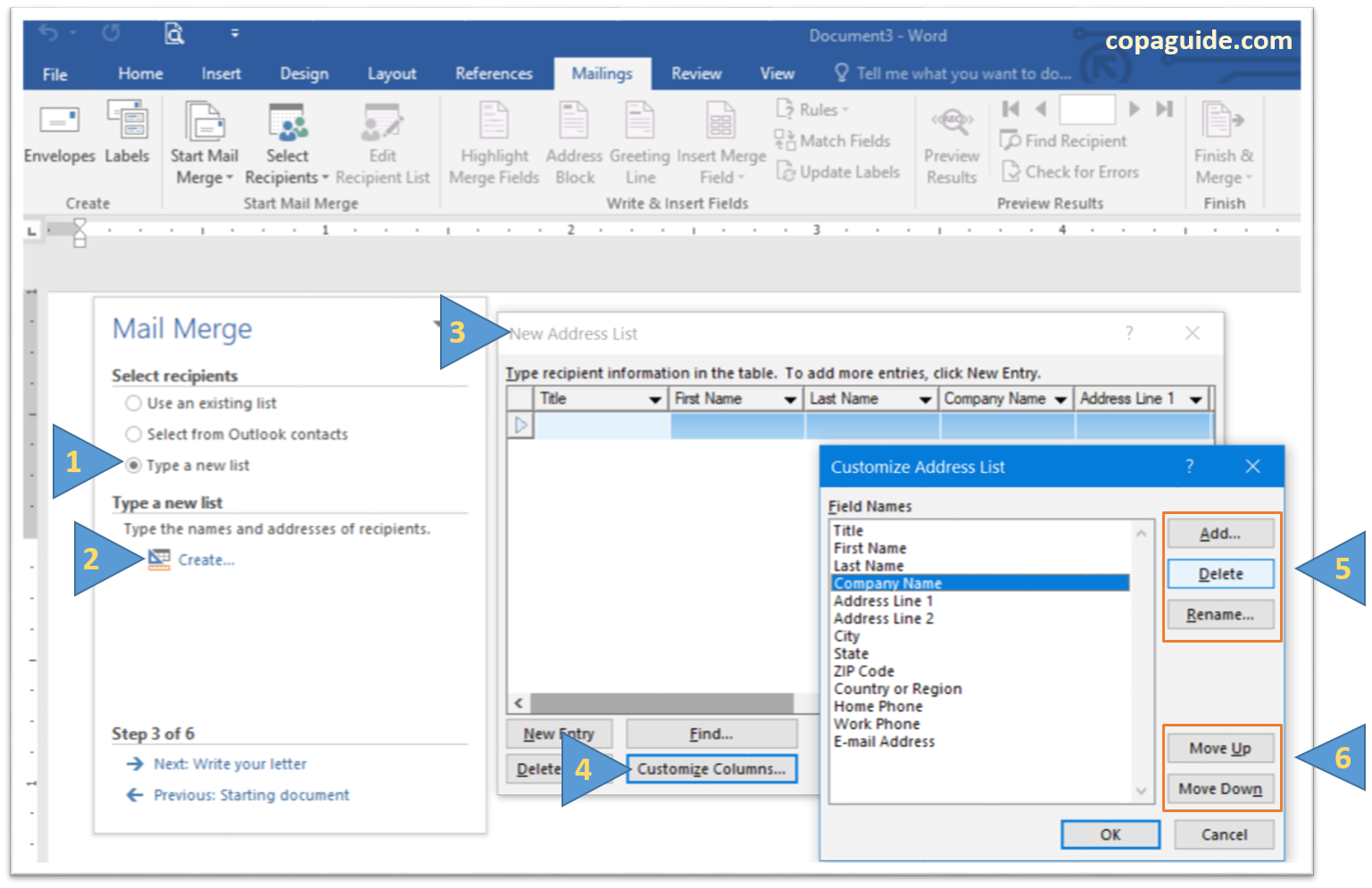 Mail Merge Wizard create list in MS-Word Hindi Notes