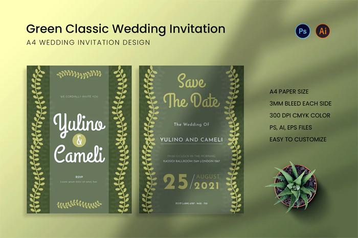 Green Classic Wedding Invitation