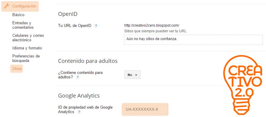 Configuración Blogger