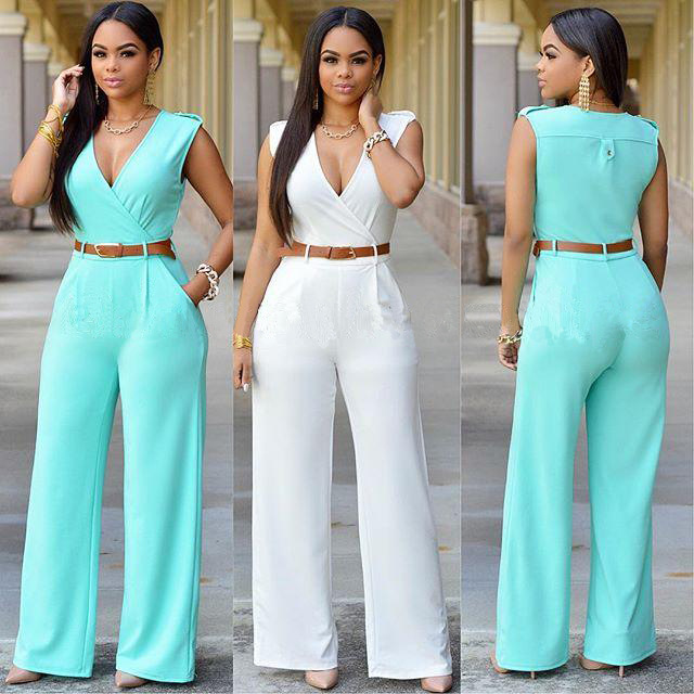 Images of Womens White Jumpsuits And Rompers - Reikian