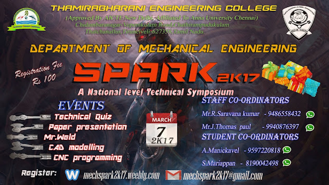Spark 2K17: A National Level Technical Symposium at Thamirabharani Engineering College